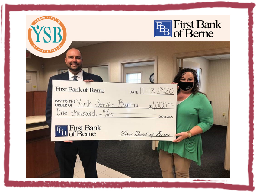 First Bank of Berne donates $1,000